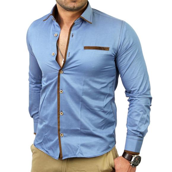 Reslad Herren Langarm Jeans Hemd RS-7110 Royalblau M