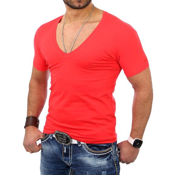 Reslad Herren V-Neck T-Shirt RS-5052 Rot XL