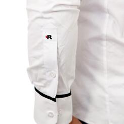 Reslad Herren Langarm Hemd Madison RS-7090 Weiß-Schwarz M