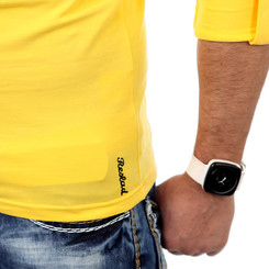 Reslad Herren Langarm Shirt Manhatten RS-5054 Gelb-Schwarz XL