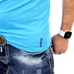 Reslad Herren Langarm Shirt Manhatten RS-5054 Türkis-Schwarz XL