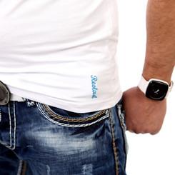 Reslad Herren Langarm Shirt Manhatten RS-5054 Türkis-Weiß M