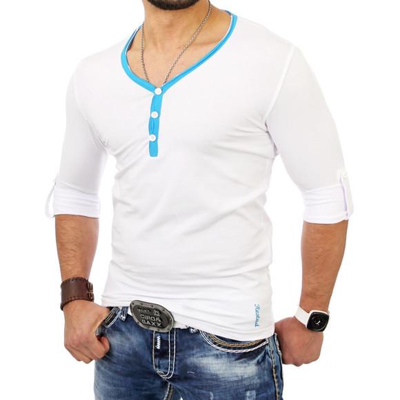 Reslad Herren Langarm Shirt Manhatten RS-5054 Türkis-Weiß XL