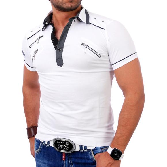 Reslad Herren Zipper Style T-Shirt Poloshirt RS-5028 Weiß 2XL