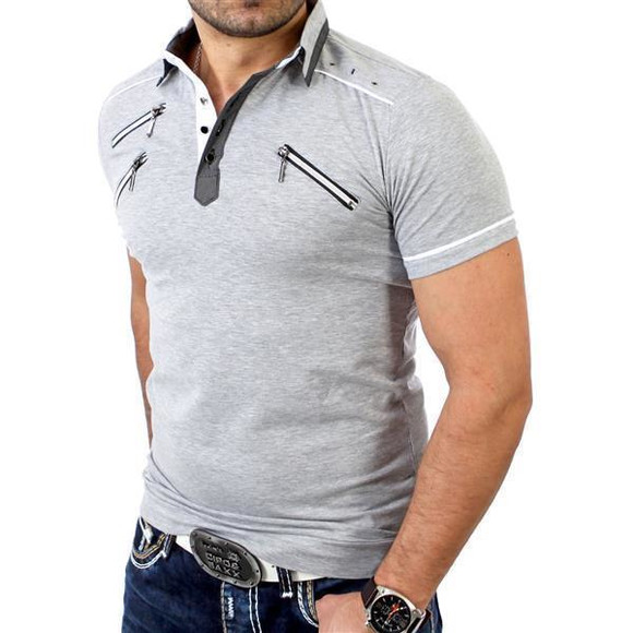 Reslad Herren Zipper Style T-Shirt Poloshirt RS-5028 Grau M