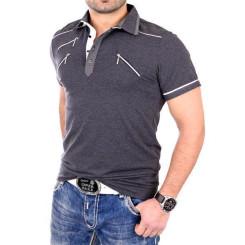 Reslad Herren Zipper Style T-Shirt Poloshirt RS-5028 Anthrazit XL