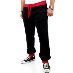 Reslad Herren Athletic Sweatpant Jogginghose RS-5100 Schwarz-Rot M