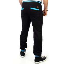 Reslad Herren Buttoned Style Sweatpants Jogginghose RS-5150 Schwarz-Türkis M