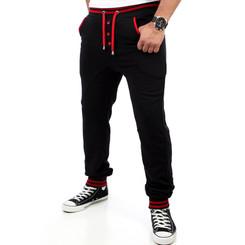 Reslad Herren Buttoned Style Sweatpants Jogginghose RS-5150 Schwarz-Rot S