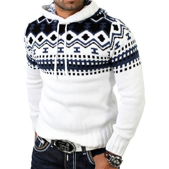 Reslad Herren Grobstrick Pullover Norweger Winter Kapuzenpullover RS-3013 Weiß XL