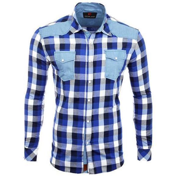Reslad Hemd Herren Karo Material-Mix Jeans RS-7202 Blau S