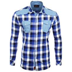 Reslad Hemd Herren Karo Material-Mix Jeans RS-7202 Blau XL