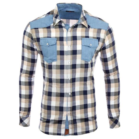 Reslad Hemd Herren Karo Material-Mix Jeans RS-7202 Braun L