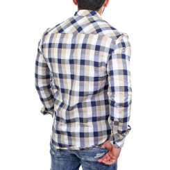 Reslad Hemd Herren Karo Material-Mix Jeans RS-7202 Braun 2XL