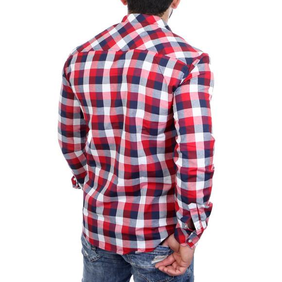Reslad Hemd Herren Karo Material-Mix Jeans RS-7202 Rot L