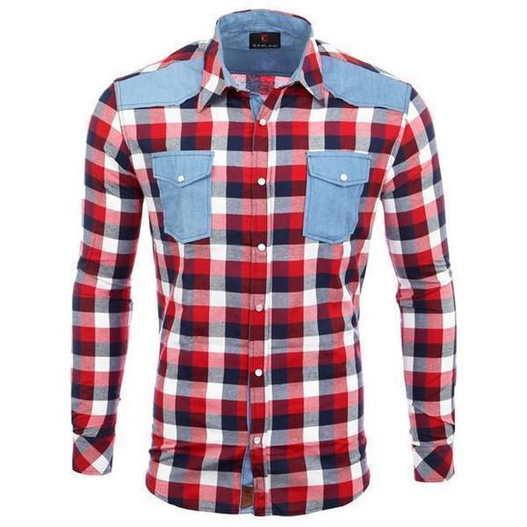 Reslad Hemd Herren Karo Material-Mix Jeans RS-7202 Rot XL