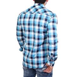 Reslad Hemd Herren Karo Material-Mix Jeans RS-7202 Türkis L
