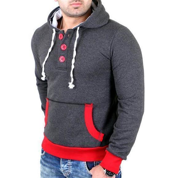 Reslad Pullover Herren Two-Tone Kontrast Kapuzen Hoodie RS-1102 Anthrazit-Rot XL