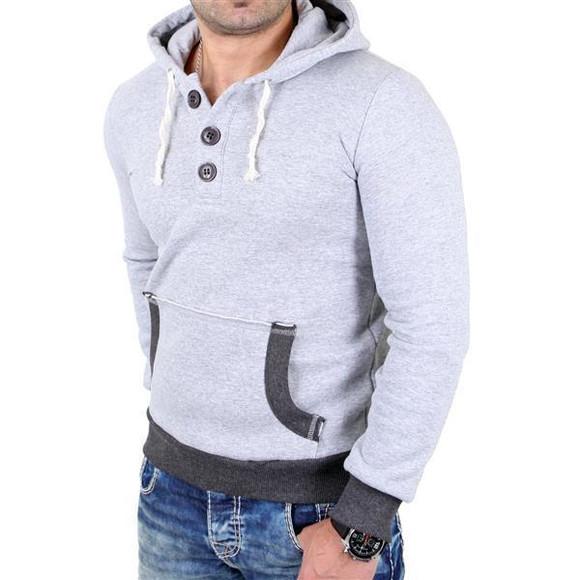 Reslad Pullover Herren Two-Tone Kontrast Kapuzen Hoodie RS-1102 Grau-Anthrazit 2XL
