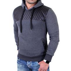 Reslad Sweatshirt Herren Lederimitat Patched Kapuzen Pullover RS-1154 Anthrazit XL