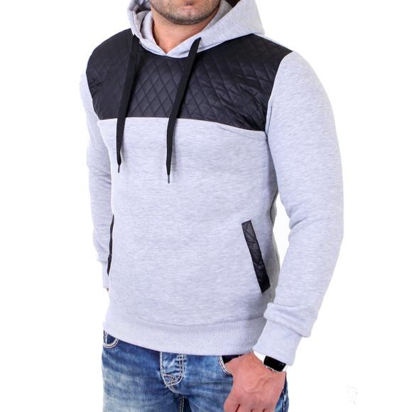 Reslad Sweatshirt Herren Lederimitat Patched Kapuzen Pullover RS-1154 Grau 2XL
