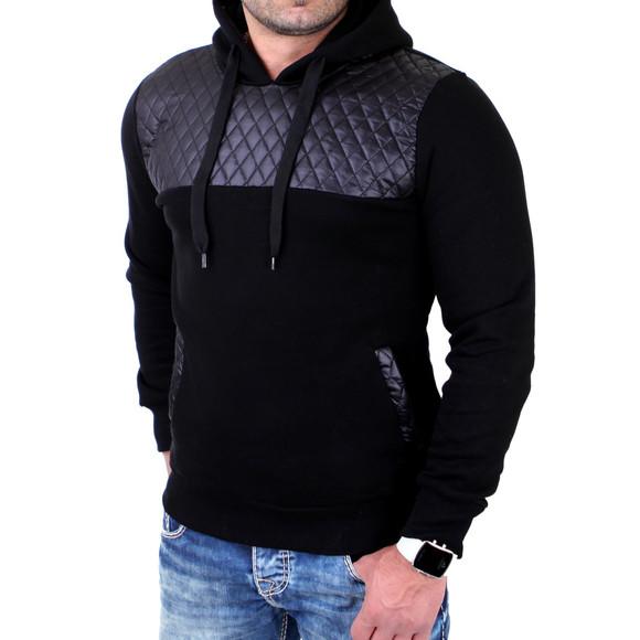 Reslad Sweatshirt Herren Lederimitat Patched Kapuzen Pullover RS-1154 Schwarz 2XL