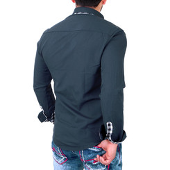 Reslad Herren Hemd Karo- Kontrastkragen Langarmhemd RS-7206 Anthrazitblau S