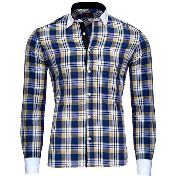 Reslad Herren Hemd Karo Muster Design Langarmhemd RS-7212 Camel S