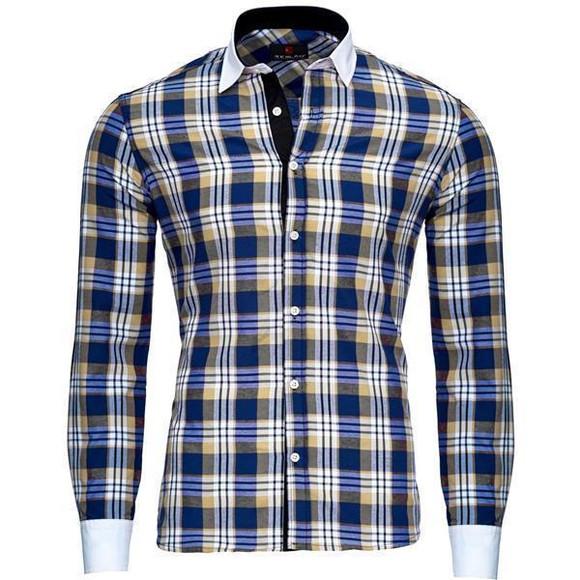 Reslad Herren Hemd Karo Muster Design Langarmhemd RS-7212 Camel M