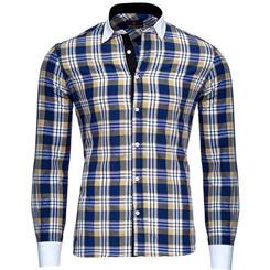 Reslad Herren Hemd Karo Muster Design Langarmhemd RS-7212 Camel XL