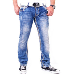 Reslad Herren Jeans Dicke Kontrast Doppel-Naht Used Look Jeanshose RS-2007 Blau-Camel W29 / L32