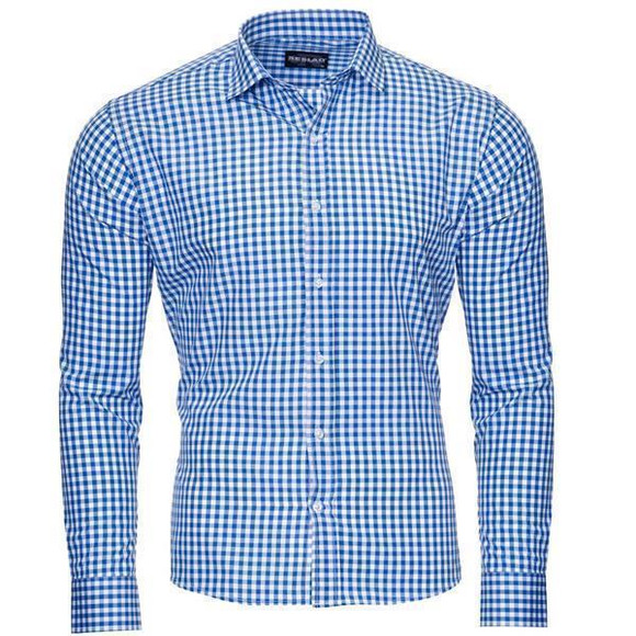 Reslad Herren Hemd Vichy Karomuster Langarmhemd RS-7007 Blau S