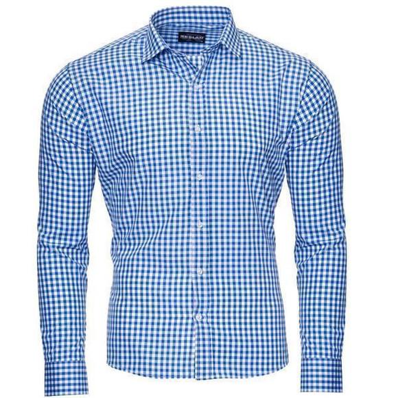 Reslad Herren Hemd Vichy Karomuster Langarmhemd RS-7007 Blau M