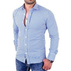 Reslad Herren Hemd Vichy Karomuster Langarmhemd RS-7007 Blau L