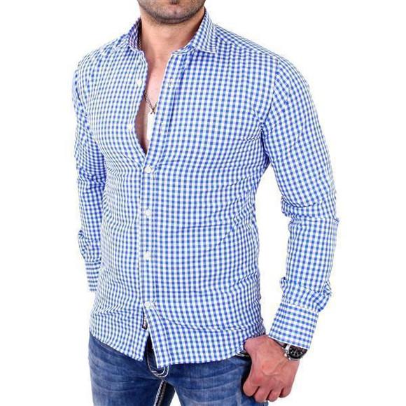 Reslad Herren Hemd Vichy Karomuster Langarmhemd RS-7007 Blau 2XL