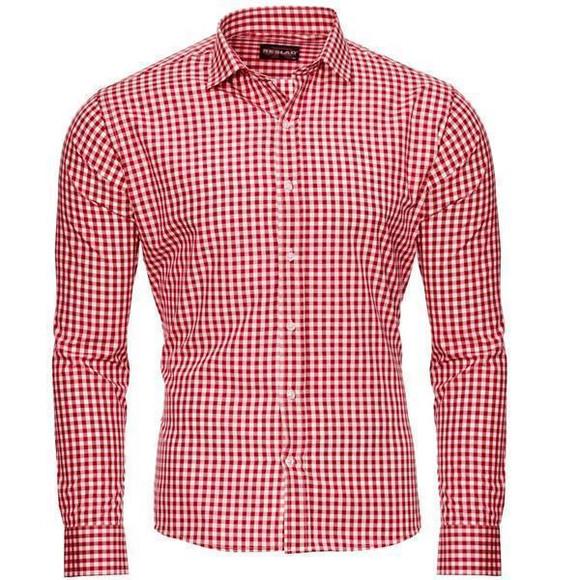 Reslad Herren Hemd Vichy Karomuster Langarmhemd RS-7007 Rot S