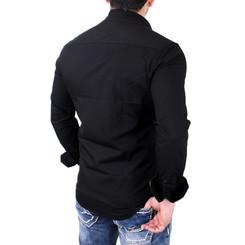 Reslad Herren Hemd Exklusiv Two Tone Look Langarmhemd RS-7205 Schwarz M