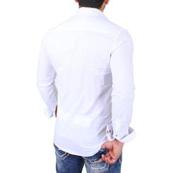 Reslad Herren Hemd Exklusiv Two Tone Look Langarmhemd RS-7205 Weiß S