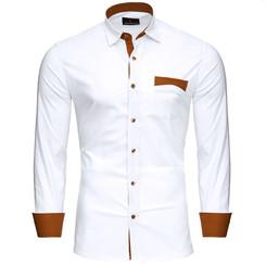 Reslad Herren Hemd Exklusiv Two Tone Look Langarmhemd RS-7205 Weiß XL