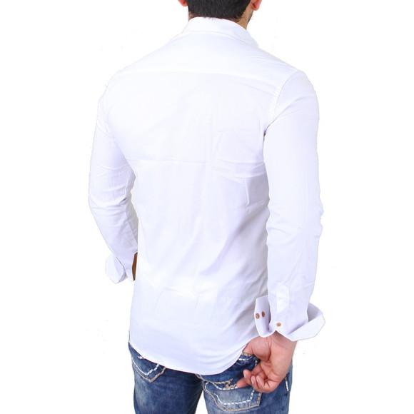 Reslad Herren Hemd Exklusiv Two Tone Look Langarmhemd RS-7205 Weiß 2XL
