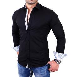 Reslad Herren Hemd Paisley Design Langarmhemd RS-7207 Schwarz S