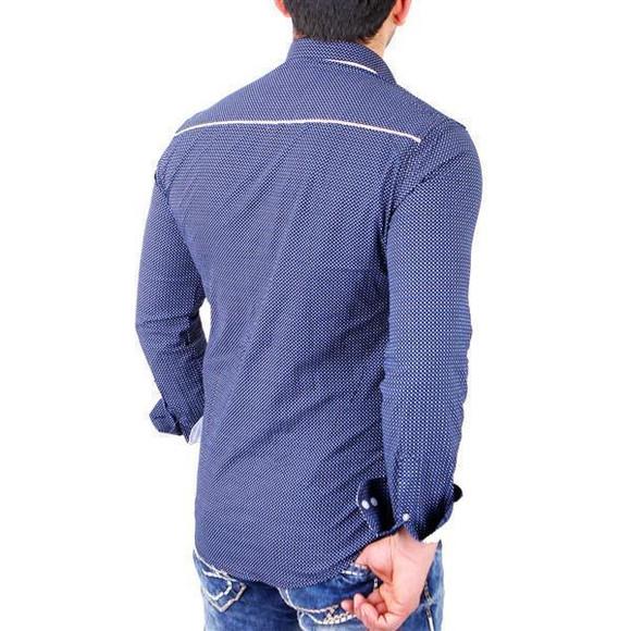 Reslad Herren Hemd Glencheck Button-Down-Kragen Langarmhemd RS-7208 Navy XL