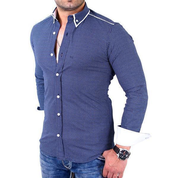 Reslad Herren Hemd Glencheck Button-Down-Kragen Langarmhemd RS-7208 Navy 2XL