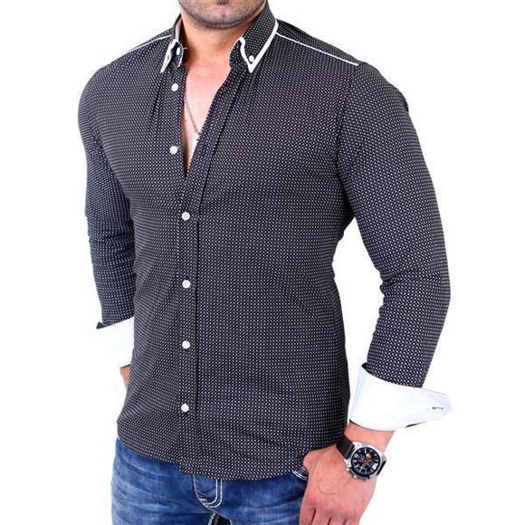 Reslad Herren Hemd Glencheck Button-Down-Kragen Langarmhemd RS-7208 Schwarz M