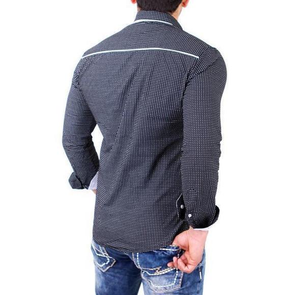 Reslad Herren Hemd Glencheck Button-Down-Kragen Langarmhemd RS-7208 Schwarz L