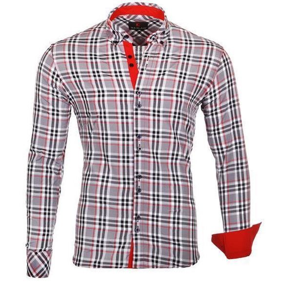 Reslad Herren Hemd Tartan Karo Design Langarmhemd RS-7211 Grau S