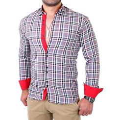 Reslad Herren Hemd Tartan Karo Design Langarmhemd RS-7211 Grau M