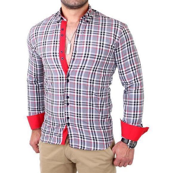 Reslad Herren Hemd Tartan Karo Design Langarmhemd RS-7211 Grau 2XL