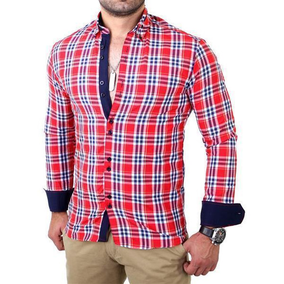 Reslad Herren Hemd Tartan Karo Design Langarmhemd RS-7211 Rot M