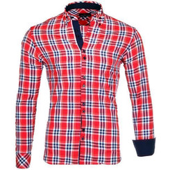Reslad Herren Hemd Tartan Karo Design Langarmhemd RS-7211 Rot L